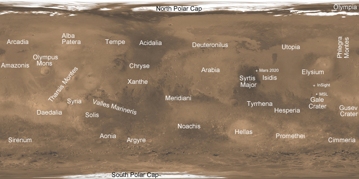 simple cylindrical map of Mars with various place names indicated