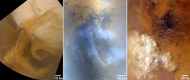 Left: MARCI image of a north polar spiral storm, 2 March 2008. Middle: MARCI image of water ice clouds over Nili Fossae. Right: Dust storm approaching the MER-B (Spirit) landing site, 13 October 2010.