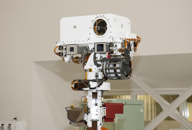 The remote sensing mast on NASA's Mars Science Laboratory rover Curiosity, showing the two MSSS-built Mastcams and the ChemCam instrument.