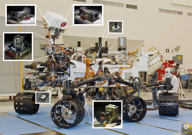 NASA Mars Science Laboratory rover, Curiosity, was taken during mobility testing at the Jet Propulsion Laboratory in Pasadena, CA on June 3, 2011