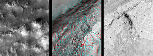 Left: CTX view of dust raising off the martian surface in the Amazonis Planitia Region. Subframe of B12_014355_2155_XN_35N160W. Middle: CTX anaglyph of a portion of Mount Sharp in Gale Crater, the target of the Mars Science Laboratory rover mission, which lands in August. Subframe of images P01_001488_1751_XI_04S222W and P22_009716_1773_XI_02S223W. Right: Vent in the Cerberus Fossae region. Subframe of CTX B11_013882_1872_XI_07N203W. Image credit: NASA/JPL-Caltech/Malin Space Science Systems.