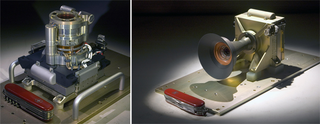 Left: The Mars Hand Lens Imager (MAHLI). Right: The Mars Descent Imager (MARDI).