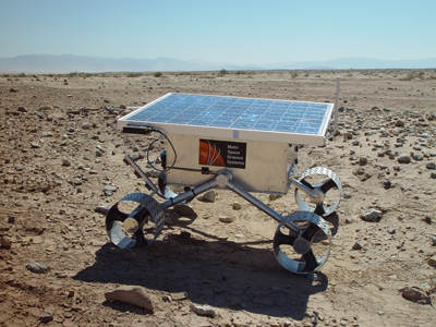 Photograph of MSSS SR2 rover, operating near the Salton Sea in 2002.