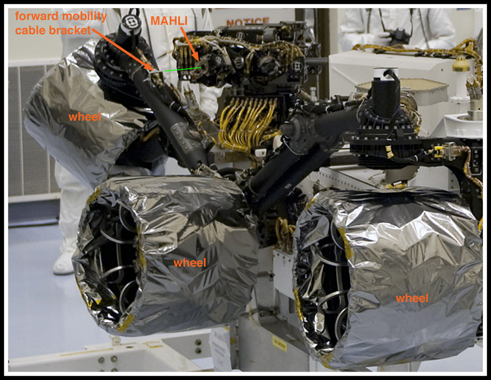 View of the MAHLI installed on the rover Curiosity before launch at Kennedy Space Center.