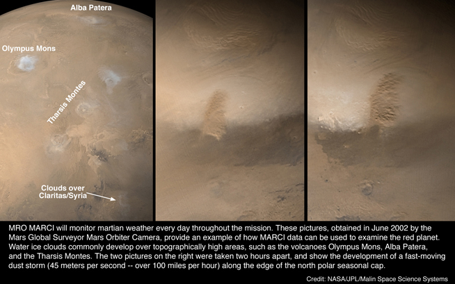 MGS MOC view of a dust storm on Mars in June 2002.