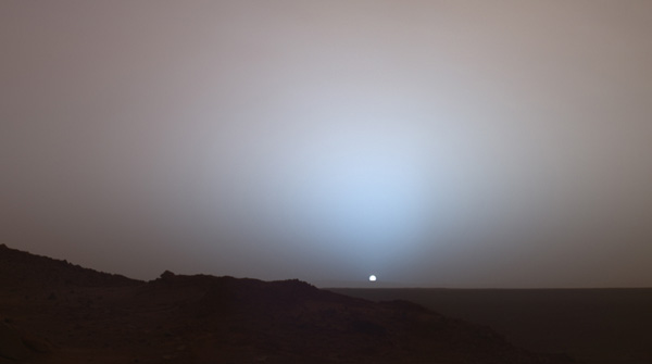 Sunset over Gusev Crater, captured 19 May 2005, by the Pancam system on the Spirit rover.
