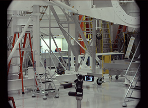 View of JPL ATLO high bay in the spacecraft assembly facility taken by the 34mm MSL Mastcam.